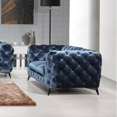 Binstead Chesterfield Loveseat Upholstery: Blue