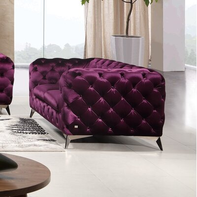 Binstead Chesterfield Loveseat Upholstery: Purple