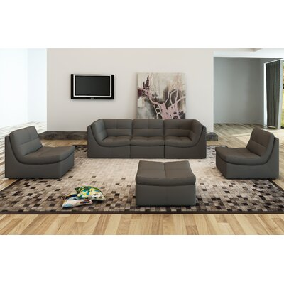 Weisman 6 Piece Leather Modular Sofa Upholstery: Gray
