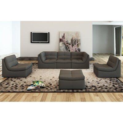 Weisman 6 Piece Leather Modular Sofa Set Upholstery: Gray