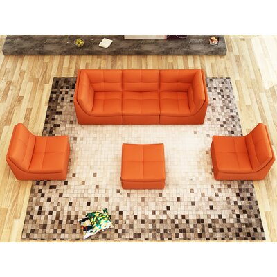 Weisman 6 Piece Leather Modular Sofa Set Upholstery: Pumpkin