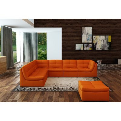 Weisman 7 Piece Leather Living Room Set Upholstery: Pumpkin