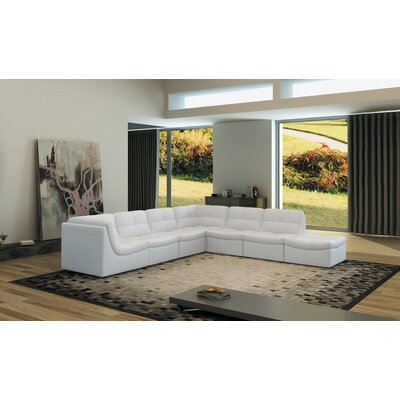 Weisman 7 Piece Leather Living Room Set Upholstery: White