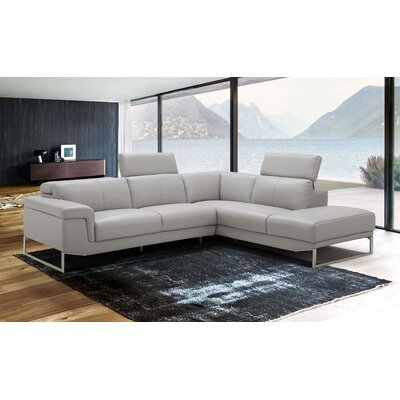 Baver Leather Sectional Orientation: Right Hand Facing