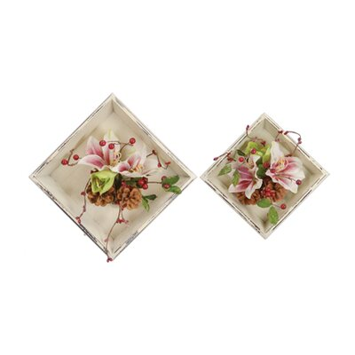 2 Piece Amaryllis Square Tray Set