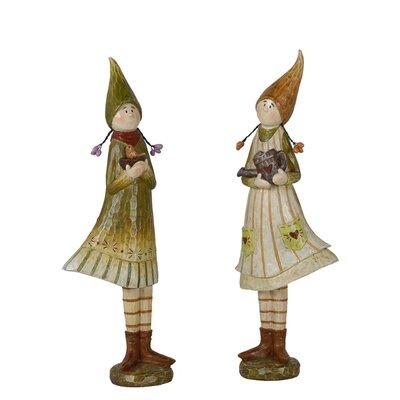 2 Piece Mushroom Children Figurine Set