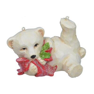 """6"""" Playing Xmas Polar Bear Figurine RA3036 CREAM"""