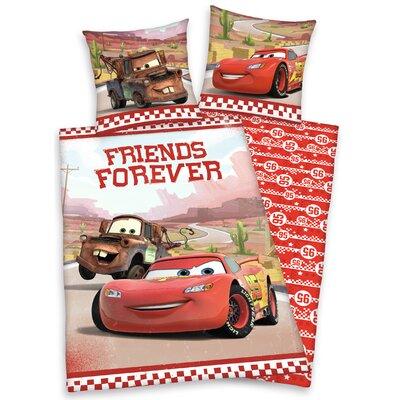 Renforcé Kinderbettwäsche Disney's Cars Forever Friends | Kinderzimmer > Textilien für Kinder > Kinderbettwäsche | Brownred | Baumwolle | Herding Heimtextil