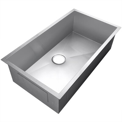 Handmade Stainless Steel 33 x 22 Undermount Kitchen Sink with Drain Strainer Kit and Adjustable Tray