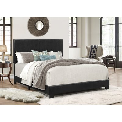 Erin Upholstered Panel Bed Size: Full, Color: Black