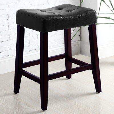 Lyndale Saddle 24 Bar Stool Upholstery: Black