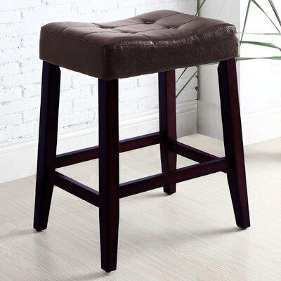 Lyndale Saddle 24 Bar Stool Upholstery: Espresso
