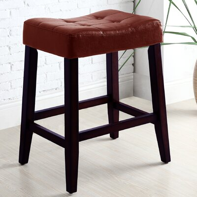 Lyndale Saddle 24 Bar Stool Upholstery: Red