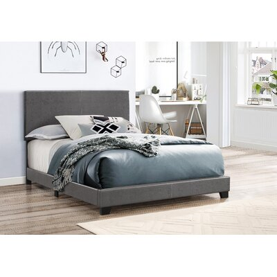 Erin Upholstered Panel Bed Size: Twin, Color: Gray