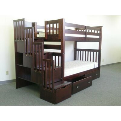 Stairway Tall Twin Over Twin Bunk Bed with Extra Storage Bed Frame Color: Cappuccino