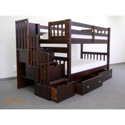 Stairway Twin over Twin Bunk Bed with Extra Storage Bed Frame Color: Cappuccino