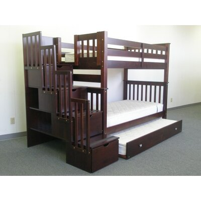 Stairway Tall Twin Over Twin Bunk Bed with Trundle Finish: Cappuccino