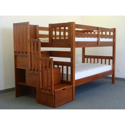 Stairway Tall Twin Over Twin Bunk Bed with Storage Finish: Espresso