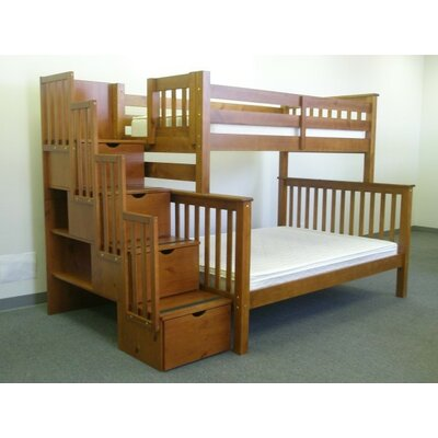 Stairway Twin over Full Bunk Bed with Storage Color: Espresso