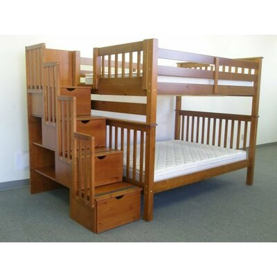 Stairway Tall Full over Full Bunk Bed with Storage Finish: Espresso