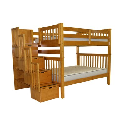 Stairway Tall Full over Full Bunk Bed with Storage Finish: Honey