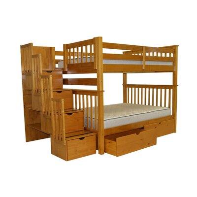 Stairway Full over Full Bunk Bed with Extra Storage Bed Frame Color: Honey
