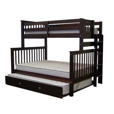 Mission Twin over Full Bunk Bed with Full Trundle Finish: Cappuccino