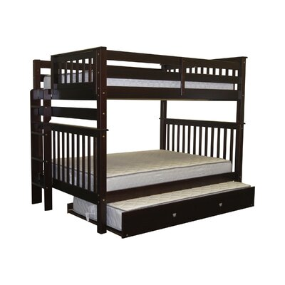 Mission Full over Full Bunk Bed with Trundle Bed Frame Color: Cappuccino