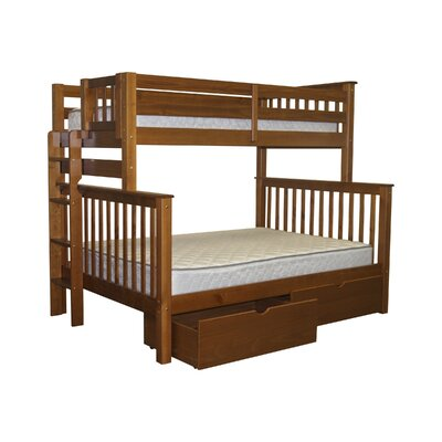 Mission Twin over Full Bunk Bed with Storage Bed Frame Color: Espresso