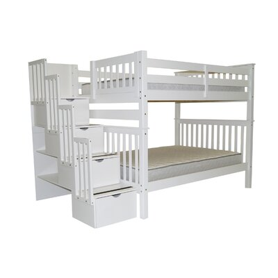 Stairway Tall Full over Full Bunk Bed with Storage Finish: White