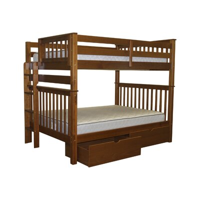 Mission Full over Full Bunk Bed with Storage Bed Frame Color: Espresso