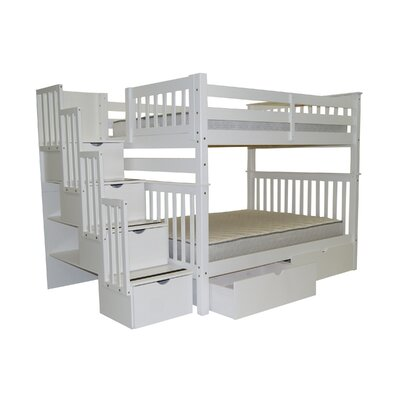 Full over Full Bunk Bed with Storage Finish: White
