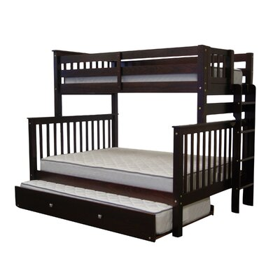 Mission Twin over Full Bunk Bed with Trundle Finish: Cappuccino