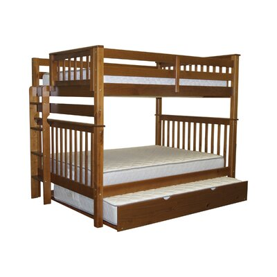 Mission Full over Full Bunk Bed with Full Trundle Bed Frame Color: Espresso