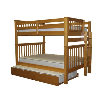 Mission Full over Full Bunk Bed with Trundle Bed Frame Color: Honey