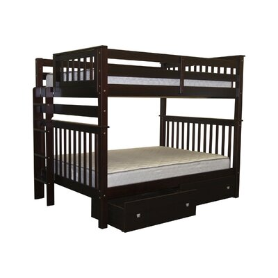 Mission Twin over Full Bunk Bed with Storage Finish: Cappuccino