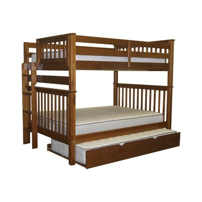 Mission Full over Full Bunk Bed with Trundle Bed Frame Color: Espresso