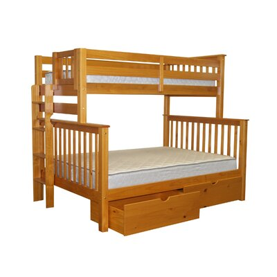 Mission Twin over Full Bunk Bed with Storage Bed Frame Color: Honey