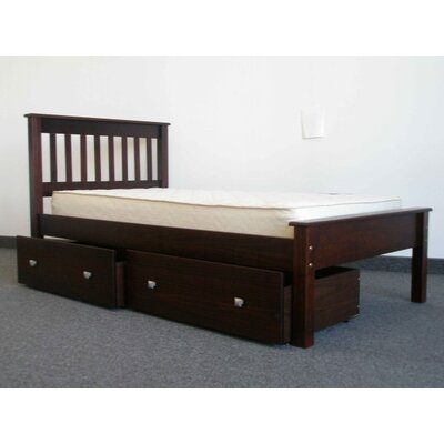 Mission Twin Slat Bed with Storage Bed Frame Color: Cappuccino