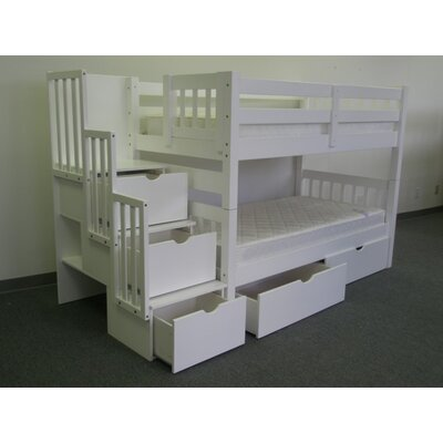 Stairway Twin over Twin Bunk Bed with Extra Storage Bed Frame Color: White