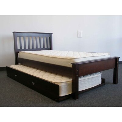 Mission Twin Slat Bed with Trundle Bed Frame Color: Cappuccino