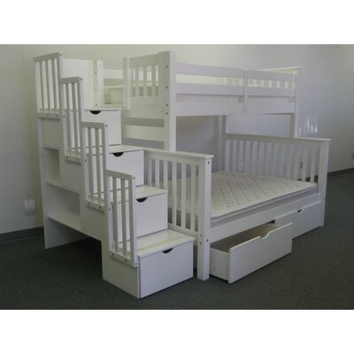 Stairway Twin over Full Bunk Bed with Storage Finish: White
