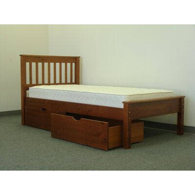 Mission Twin Slat Bed with Storage Bed Frame Color: Espresso