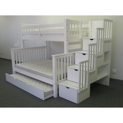 Stairway Twin over Full Bunk Bed with Trundle Bed Frame Color: White