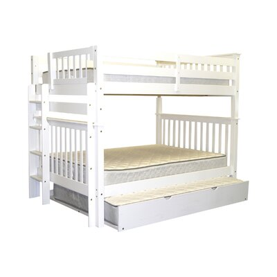 Mission Full over Full Bunk Bed with Full Trundle Bed Frame Color: White