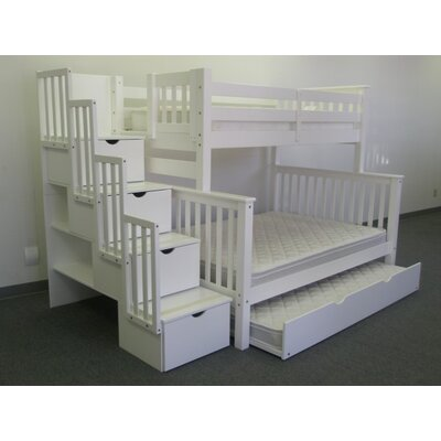 Stairway Twin over Full Bunk Bed with Trundle Finish: White