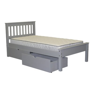 Mission Twin Slat Bed with Storage Finish: Gray