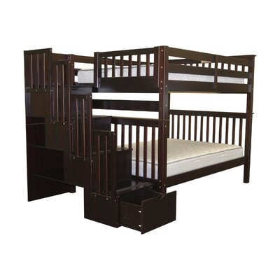 Stairway Tall Full over Full Bunk Bed with Storage Finish: Cappuccino