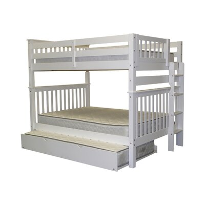 Mission Full over Full Bunk Bed with Trundle Bed Frame Color: White