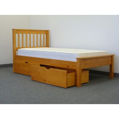Mission Twin Slat Bed with Storage Bed Frame Color: Honey